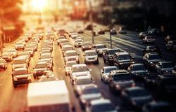 Highway Traffic at Sunset. Tilt Shift Concept Photo. Traffic in Las Vegas Nevada, USA.