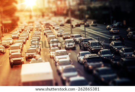 Highway Traffic at Sunset. Tilt Shift Concept Photo. Traffic in Las Vegas Nevada, USA. #262865381