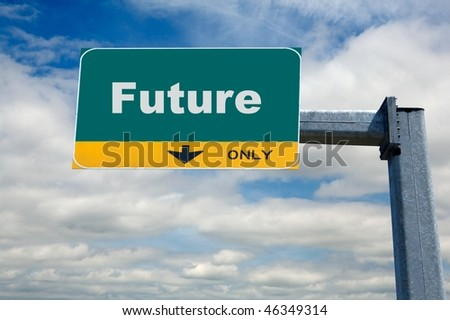 Highway traffic billboard the word oh future on it