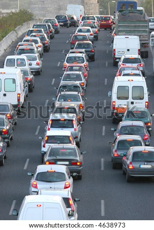 highway traffic lanes at rush hour