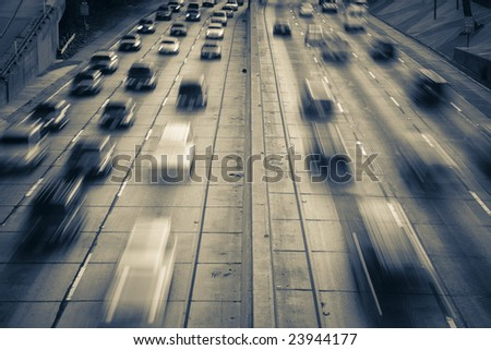 Highway traffic (time lapse with traffic as motion blur)