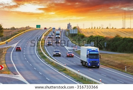 stock photo highway transportation with cars and truck 316733366 - Каталог - 3d фотообои