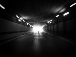 highway tunnel with motion blur in black and white style