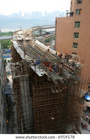 Highway under construction in Chongqing, China