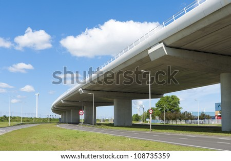 highway viaduct with another road under it