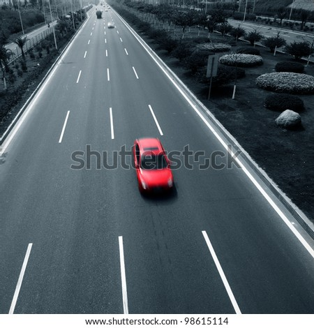 Highway with cars. motion blur
