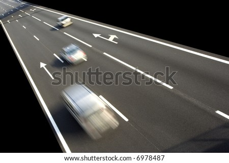 Highway with lots of car in motion - rush concept