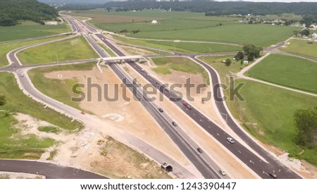 Highway with Overpass and Exits #1243390447