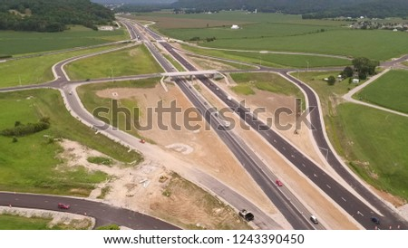 Highway with Overpass and Exits #1243390450