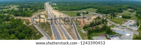 Highway with Overpass and Exits #1243390453