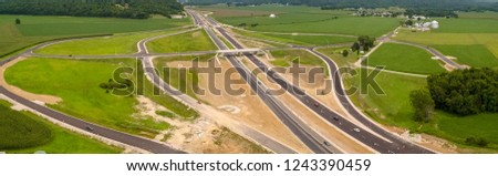 Highway with Overpass and Exits #1243390459