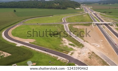 Highway with Overpass and Exits #1243390462