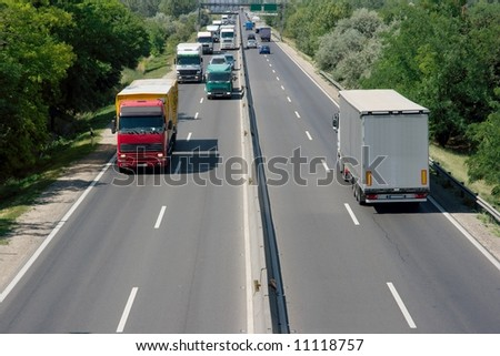 Highway with trucks