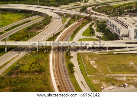 Highways and railroads - aerial view