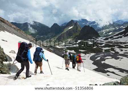 hike in Everest region - stock photo