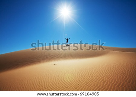 Hike in Great Sands Dunes National Park,USA - stock photo