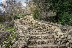 Hike in the Jerusalem Mountains, ancient stairs leading to an ancient and large pool. Winter, sataf reserve. For short, challenging walking enthusiasts.
