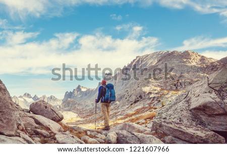 Hike in Wind River Range in Wyoming, USA. Autumn season. #1221607966