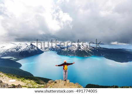 Hike to turquoise waters of picturesque Garibaldi Lake near Whistler, BC, Canada. Very popular hike destination in British Columbia. #491774005