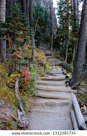 hike wilderness stairs #1312385735