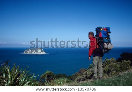 hiker at the East Cape, New Zealand