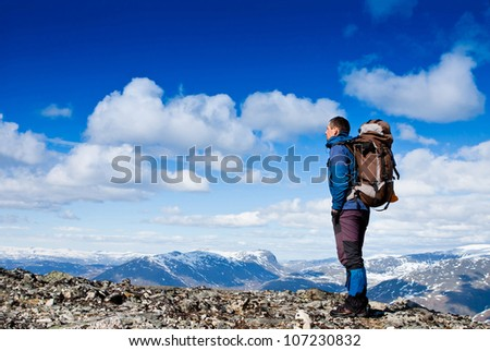 hiker enjoy sunny day