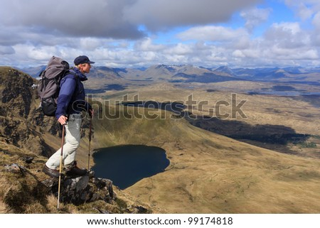 Hiker enjoying the view in the Scottish highlands.