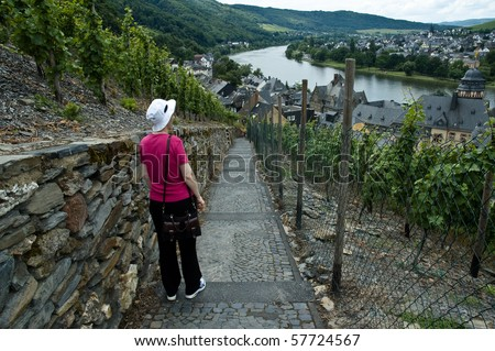 Hiker in a vineyard