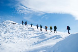 hiker in a winter mountain
