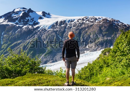 hiker in exit glacier  kenai...