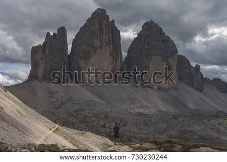 Hiker in front of the Tre Cime di Lavaredo, Italian Dolomites #730230244