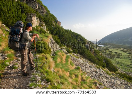 hiker in the Bulgarian mountains