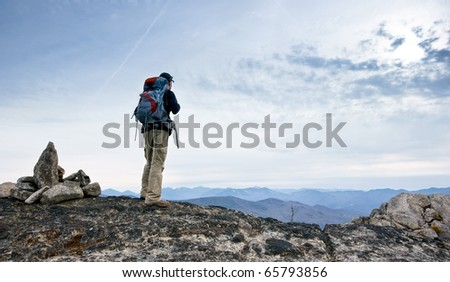 Hiker in the rugged Jay Mountain Wilderness, in the Adirondack Park of New York