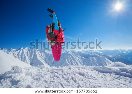 Hiker in winter Caucasus mountains in Georgia, Gudauri #157785662