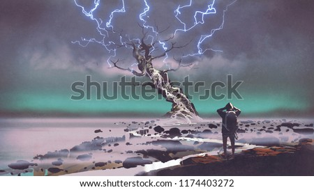 Stock Photo hiker looking at lightning above the giant tree, digital art style, illustration painting