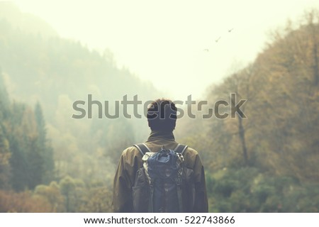 Shutterstock hiker observing the the green valley