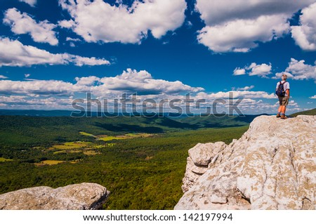 Hiker on Big Schloss, in George Washington National Forest, Virginia.