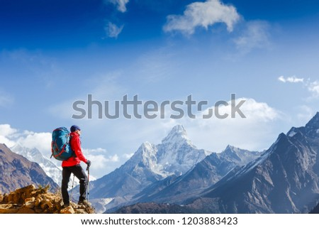Hiker on the top in Himalayas mountains. Travel sport lifestyle concept #1203883423