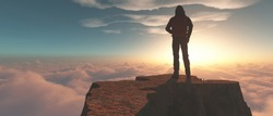 Hiker standing on a mountain cliff above clouds at sunset. This a 3d render illustration