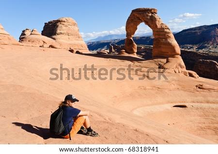 Hiker takes a break in the evening sun