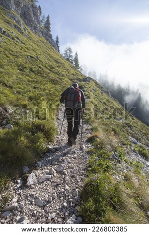 Hiker walking on the paths in Alps - Shutterstock ID 226800385