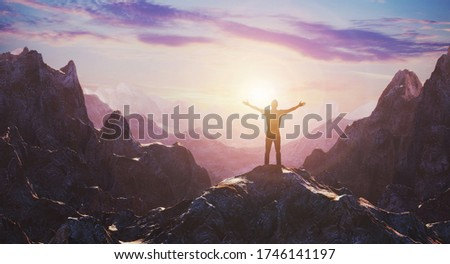 Hiker with arms up outstretched on mountain top looking at inspirational landscape. Inspiration and travel concept. 3d rendering Stock photo ©