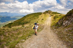 Hiker with backpack going uphill. Hike in Carpathian mountains. Hiker going up to the mountain peak on a very steep trail. Lifestyle concept active leisure tourism