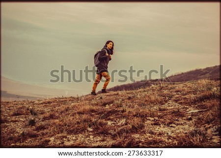 hiker young woman with backpack ...