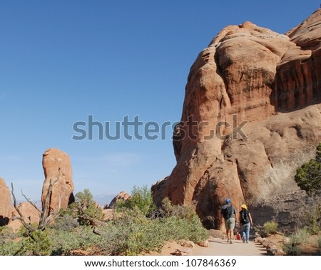 Hikers at Arches National Park in Utah, USA Stock fotó ©