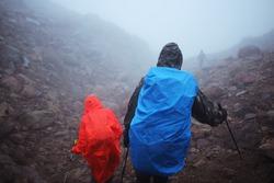 Hikers in raincoats walk through the rain and fog of autumn Kamchatka