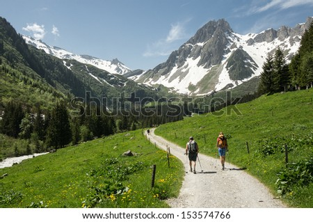 hikers in the Alps France Tour du Mont Blanc
