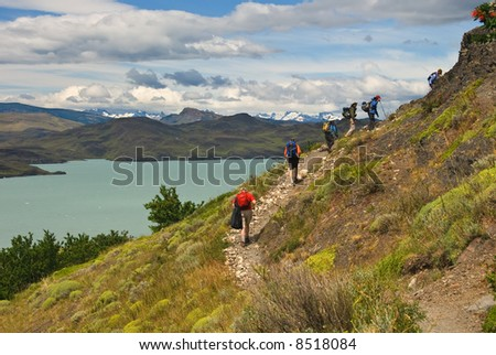 Hikers in Torres del paines NP landscape, Chili