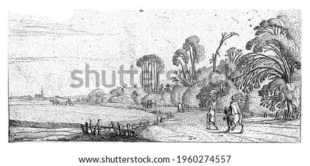 Hikers on a road near Hillegom, Esaias van de Velde, 1615 - 1616 Stockfoto ©