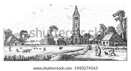 Hikers on a road near Spaarnwoude, Esaias van de Velde, 1615 - 1616 Stockfoto ©